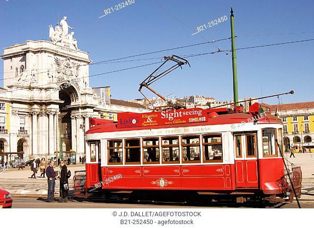 Streetcar at Praça do Comércio. Lisbon. Portugal