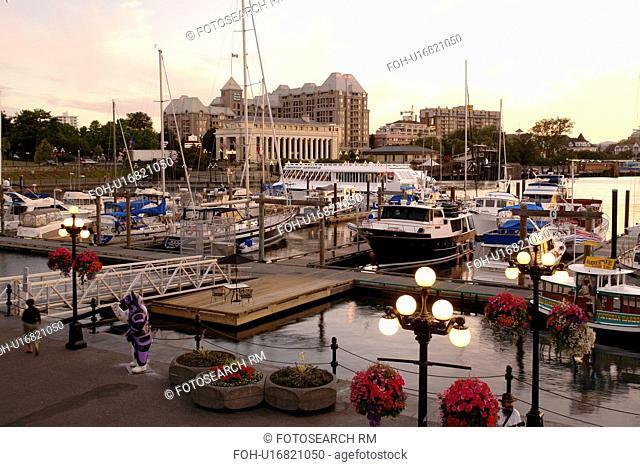 Victoria, British Columbia, Canada, Vancouver Island, Inner Harbour, waterfront, marina, sunset
