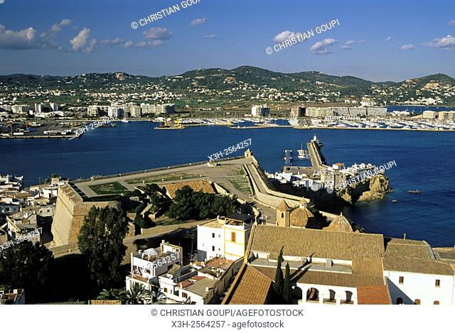 aerial view of the old Dominican convent housing today the Town Hall, Ibiza Town, Ibiza island, Balearic Islands, Spain, Europe