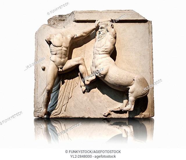 Sculpture of Lapiths and Centaurs battling from the Metope of the Parthenon on the Acropolis of Athens. Also known as the Elgin marbles