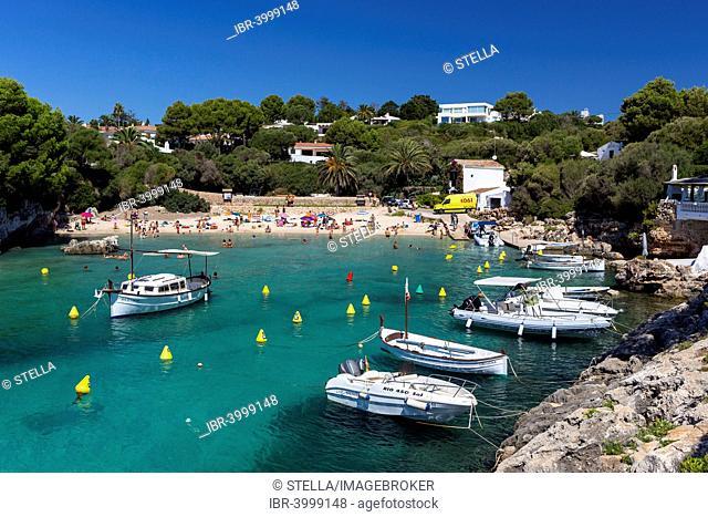 Fishing boats, Cala de Binisafuller, Binisafúller, also Cala Binisafua, bay on the southeastern coast, Menorca, Balearic Islands, Spain