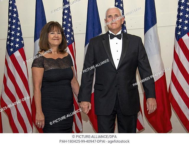 United States Vice President Mike Pence and Mrs. Karen Pence arrives for the State Dinner honoring Dinner honoring President Emmanuel Macron of the French...