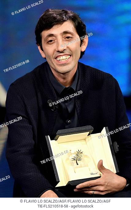 Actor Marcello Fonte winner as Best actor at 71st Cannes Film Festival during the tv show Che tempo che fa, Milan, ITALY-20-05-2018