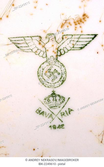 Swastika on a plate, from the shipwreck of the German transport vessel Salzburg, Black Sea, Ukraine, Eastern Europe
