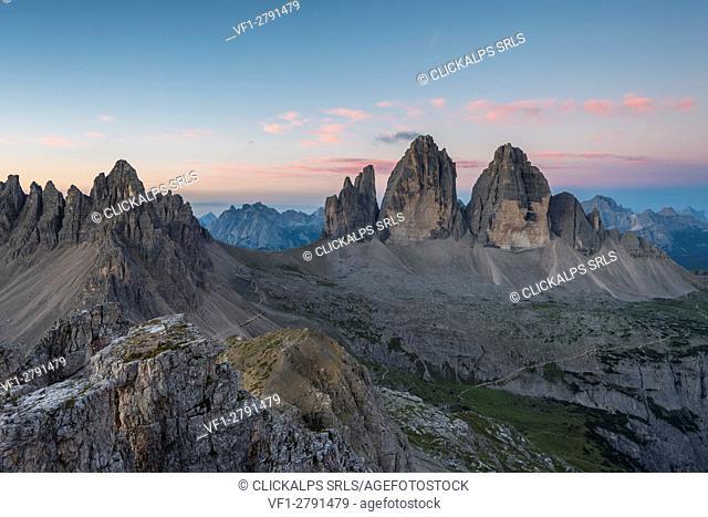 Sesto/Sexten, Dolomites, South Tyrol, Italy. Dawne over the Tre Cime di Lavaredo/Drei Zinnen. Taken from the summit of Torre di Toblin/Toblinger Knoten