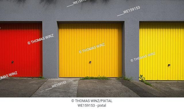 Three colorful garages in a row , Baden Württemberg , Germany