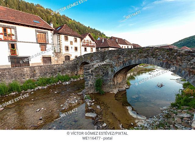 Medieval bridge over the river Anduña, Ochagavia, Navarre, Spain