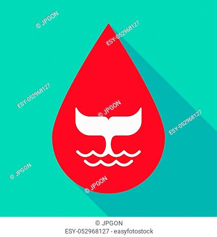 Illustration of a long shadow blood drop with a whale tail