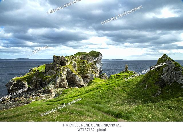 Kinbane Castle in County Antrim, Northern Ireland