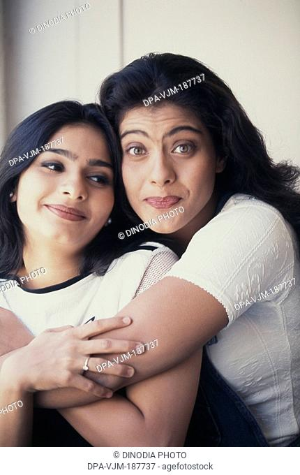 1996, Portrait of Indian film actress Kajol Devgan and Tanisha Mukherjee