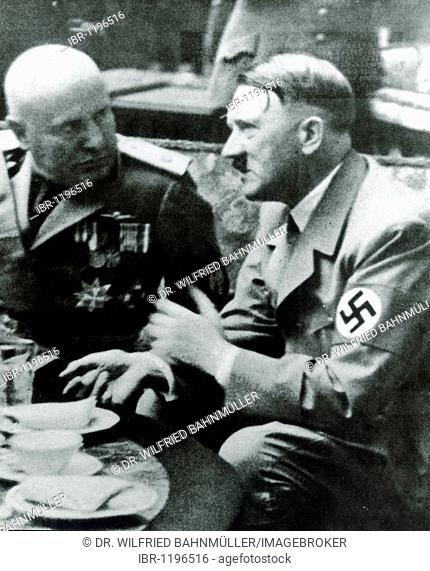 Adolf Hitler and Benito Mussolini, historical photo, September 25th 1937 in Munich, Bavaria, German Reich, Europe