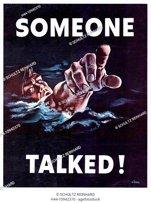 World War II, Second World War, world war, war, poster, Propagana, propaganda poster, USA, drown American, information, news, message, betrayal, danger, threat