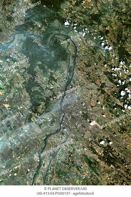 Budapest, Hungary, True Colour Satellite Image. Budapest, Hungary. True colour satellite image of Budapest, capital city of Hungary