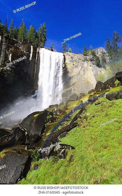 Vernal Falls and rainbow on the Mist Trail, Yosemite National Park, California USA