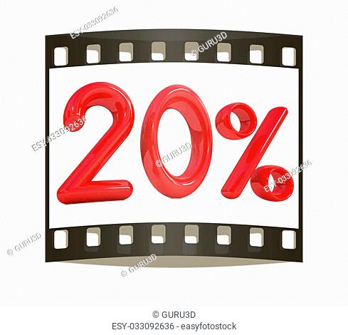 "3d red """"20"""" - twenty percent on a white background. The film strip"