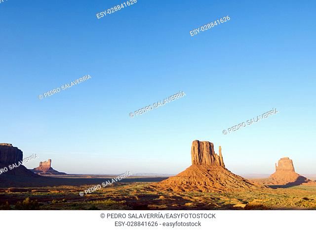 Sandstone towers in Monument Valley, Navajo Tribal Park, Usa