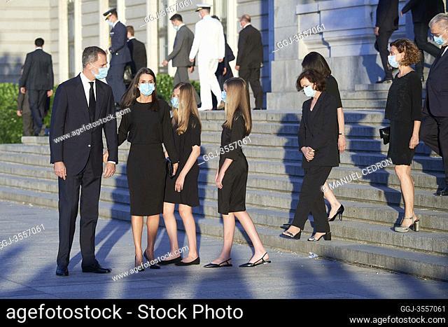 King Felipe VI of Spain, Queen Letizia of Spain, Crown Princess Leonor, Princess Sofia attend Covid-19 mass Funeral at La Almudena Cathedral on July 7