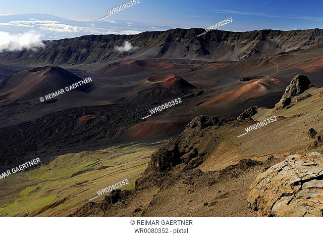 View of Haleakala cinder cones and Hawaii volcano from Maui