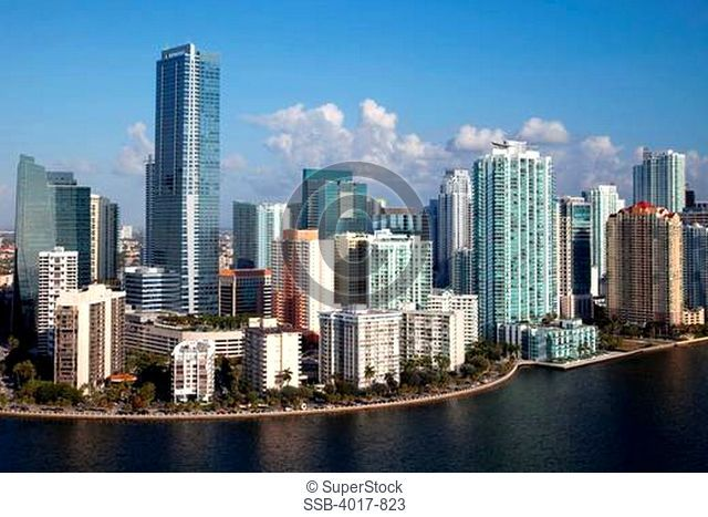 Aerial of the Skyine of Miami Brickell District