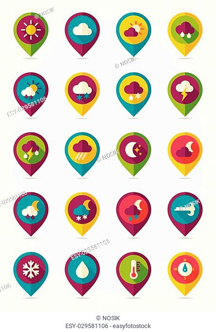 Meteorology Weather flat pin map icons set. Map pointer. Map markers. Vector illustration eps 10