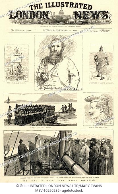 A page from the Illustrated London News, reporting on the measures to crush the rebellion on the isle of Skye. The Royal Scots regiment crossed the sea on 25th...