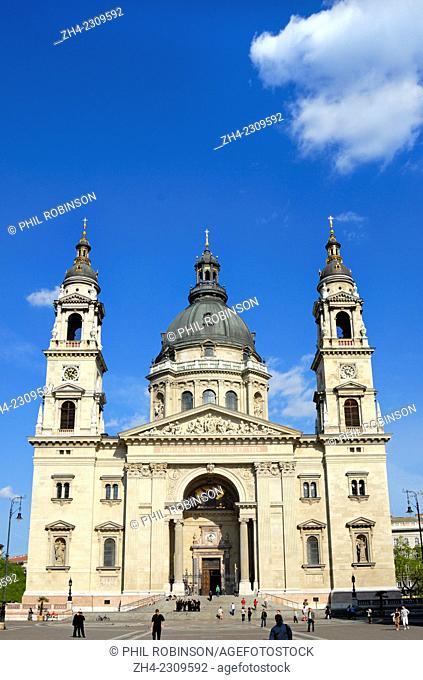 Budapest, Hungary. St Stephen's Basilica seen from Zrinyi utca