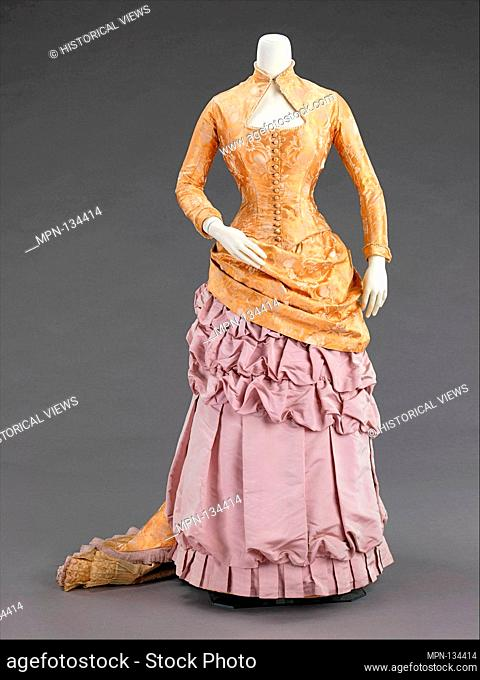 Evening dress. Department Store: Wexler & Abraham; Date: ca. 1880; Culture: American; Medium: silk; Credit Line: Brooklyn Museum Costume Collection at the...