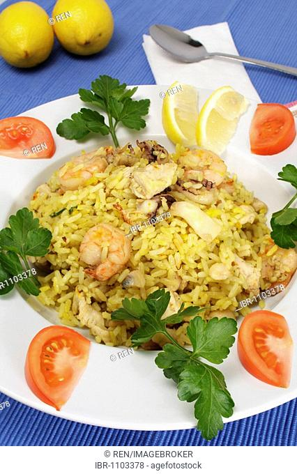 Paella with seafood, Spanish speciality
