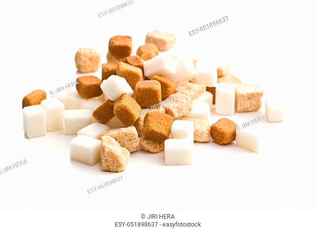 Brown and white sugar isolated on white background