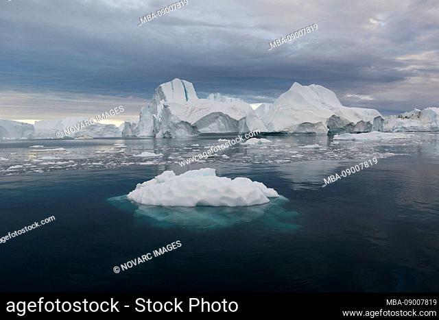 Icebergs in Disko Bay on Midsummer, Greenland
