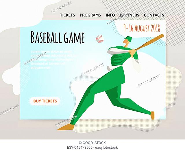 Baseball player with bat. Vector illutration, design template of sport site header, banner or poster