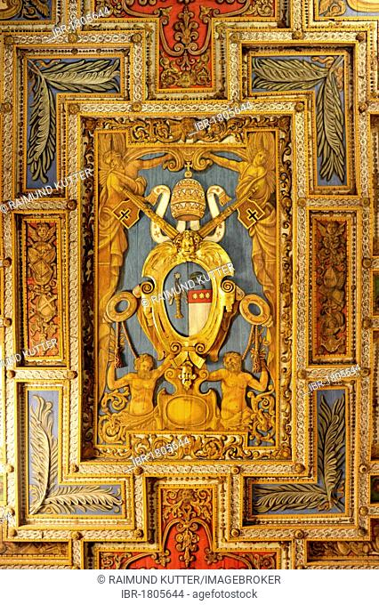 Coat of arms of Pope Gregory XVI. on the wooden coffered ceiling of the Basilica of San Sebastiano fuori le mura above the Catacombs of San Sebastiano