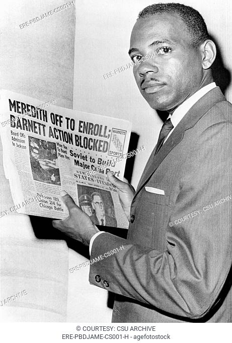 James Meredith after attempt to enroll at the University of Mississippi is blocked by Mississippi Governor Barnett, New Orleans
