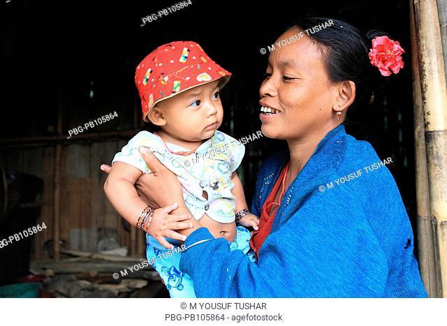 An ethnic mother and child at Tindu Bandarban, Bangladesh December 2009