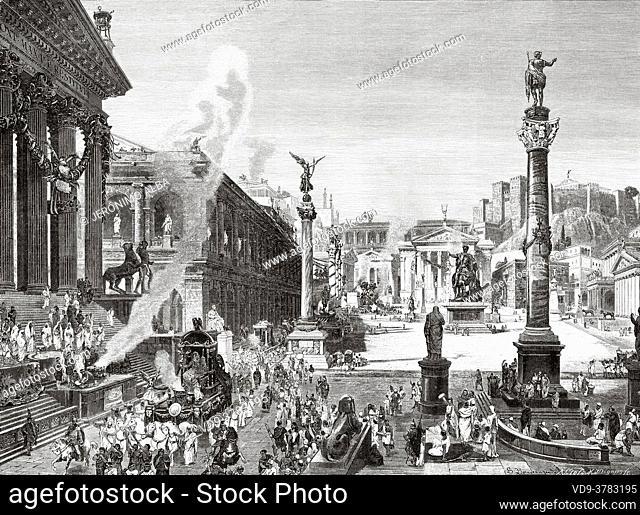 Engraving depicting a General view of Rome, Ancient roman empire. Italy, Europe. Old 19th century engraved illustration, El Mundo Ilustrado 1881