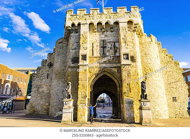The Bargate is medieval gatehouse in the city centre of Southampton. North side. Southampton, Hampshire, England, United Kingdom, UK, Europe