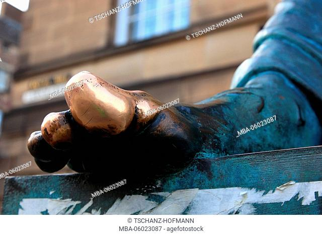 Scotland, Edinburgh, the foot of the statue of the philosopher David Hume, 1711 -1776, the Lawnmarket