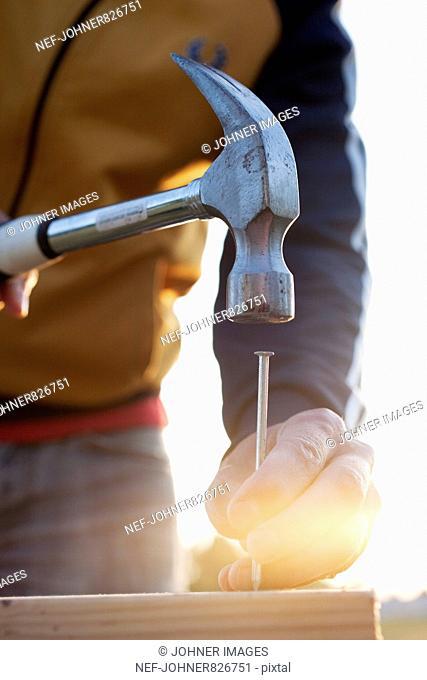 Man doing carpentry against the light, Sweden
