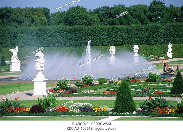 Sculptures and fountain in Baroque gardens of Herrenhausen Hanover Lower Saxony Germany