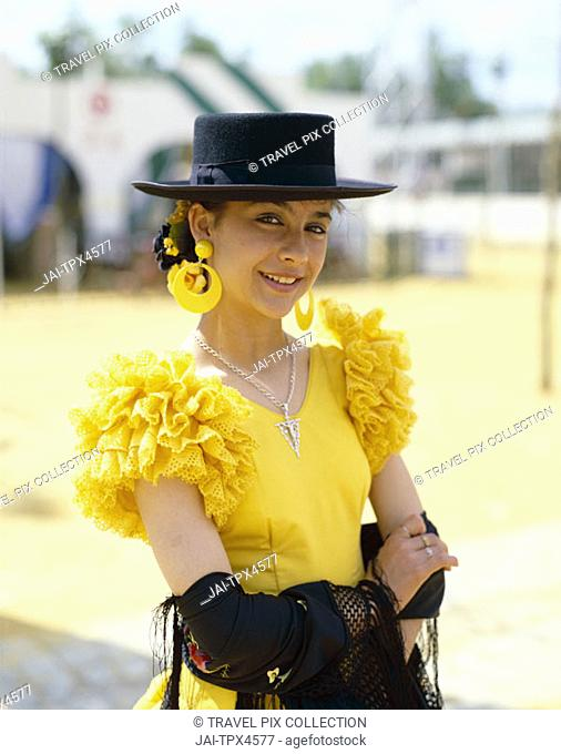 Fiesta / Horse Fair / Woman Dressed in Andalucian Costume, Jerez de la Frontera, Andalusia, Spain