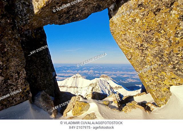 View of Belianske Tatry (peaks Havran and Zdiarska vidla) as seen from the peak Baranie rohy, High Tatras