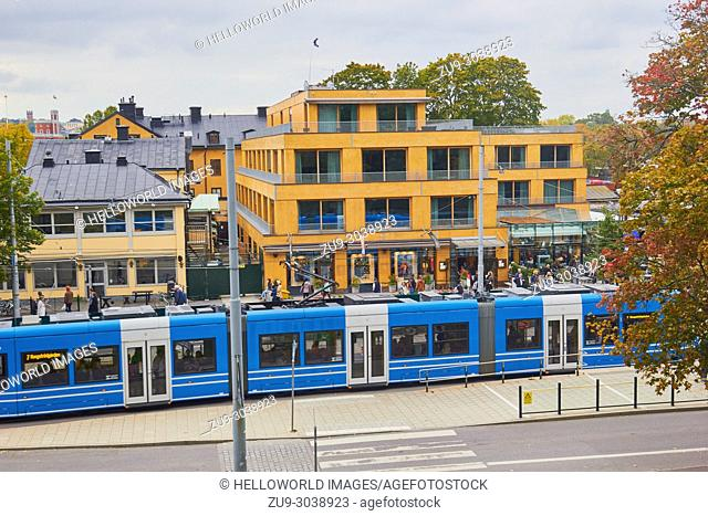 Tram passing in front of the ABBA Museum, Djurgarden, Stockholm, Sweden, Scandinavia
