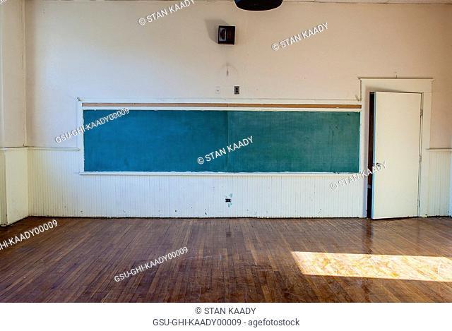 Chalkboard in Empty Classroom