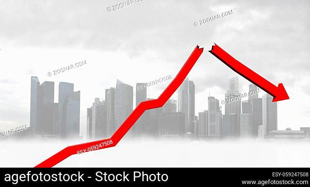 Graphs representing the stock market crash. 3d illustration