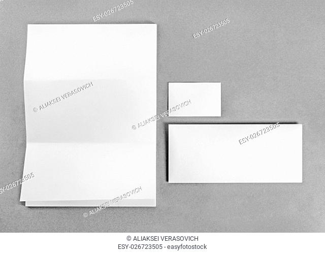Blank stationery and corporate identity template on gray background. Mockup for branding identity. For design presentations and portfolios. Top view