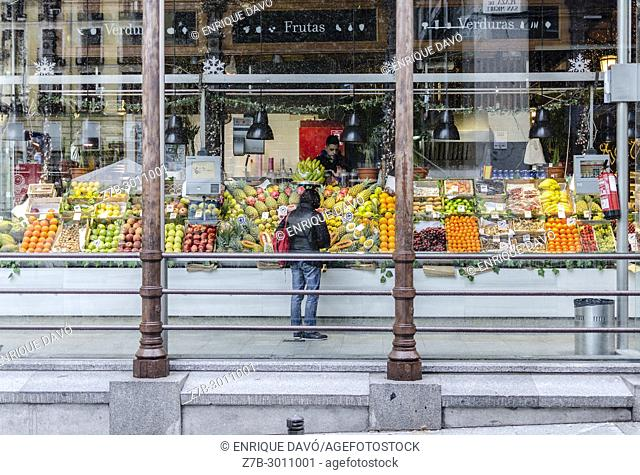 View of the San Miguel market windowshop closed to Mayor street, Madrid city, Spain
