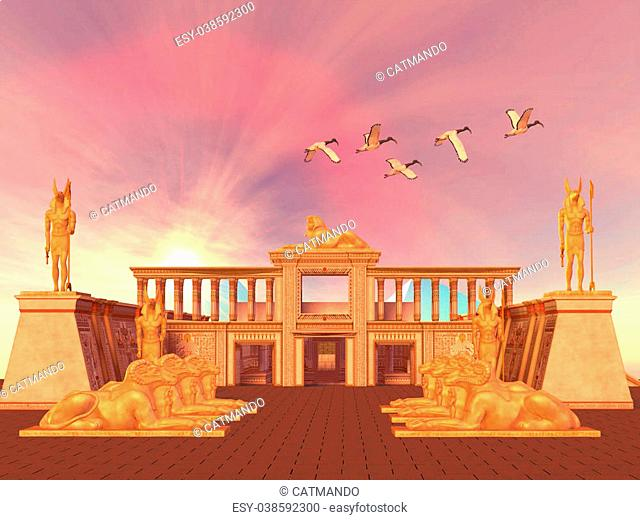 A flock of Sacred Ibis birds fly over an Egyptian palace and its entrance lined with Ram God Khnum statues