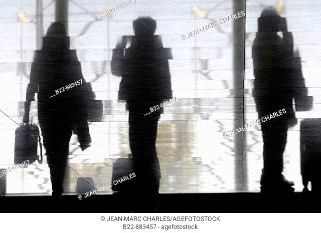 Departure of passengers, airport hall, Catania, Sicily, Italy