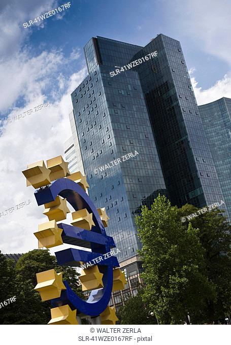 Sculpture of Euro symbol in city center