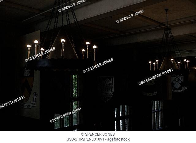 Dim lights in Hall of Flags, University of Pennsylvania, Philadelphia, Pennsylvania, USA